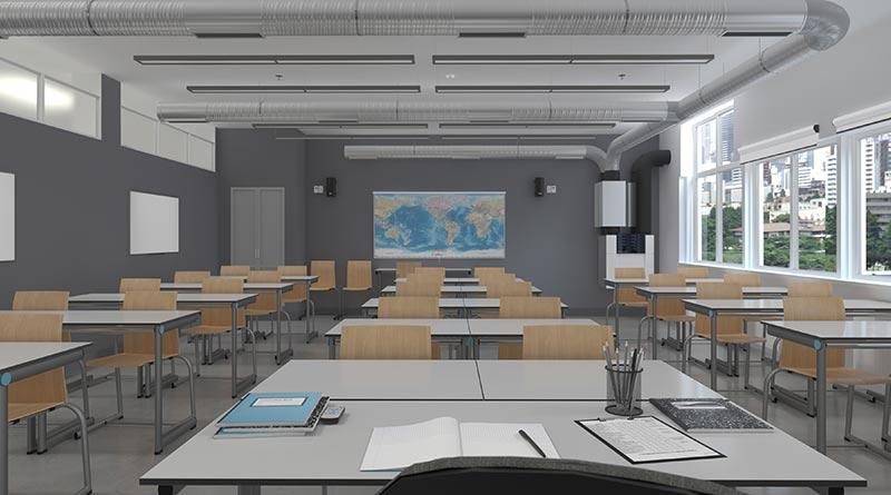 Der Raumklimaspezialist Zehnder hat ein flexibles System zur komfortablen und automatischen Lüftung von Schulräumen entwickelt, welches das Corona-Infektionsrisiko von Lehrern und Schülern minimiert und so für eine sichere und gesunde Lernatmosphäre sorgt. Bildquelle: Zehnder Group Deutschland GmbH, Lahr
